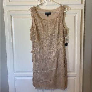 New Shimmery cocktail dress with earrings/necklace